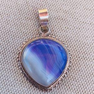 Vintage blue agate pendant set in sterling